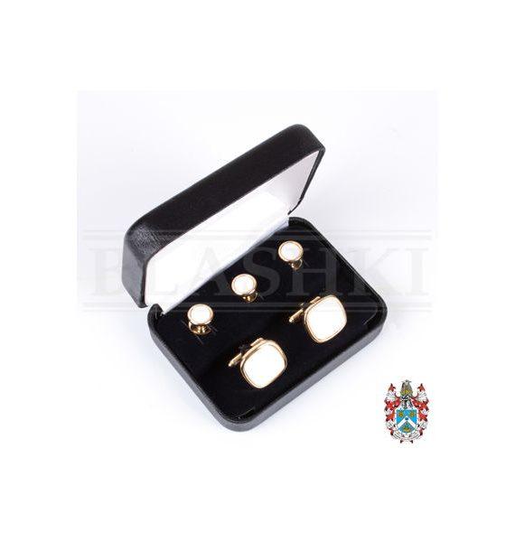 Cufflink Stud Set - White (Boxed)-400