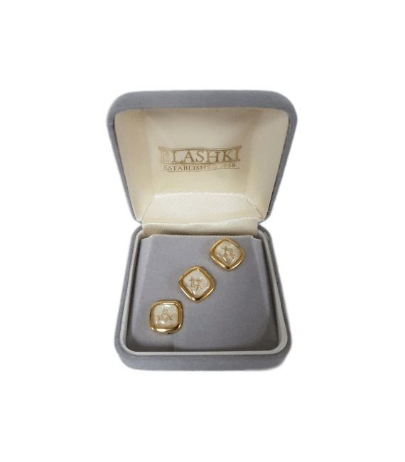 Stud Set - Square, White, Boxed (Square & Compass)
